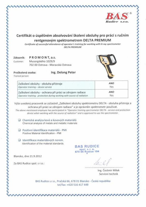 PMI - POSITIVE MATERIAL IDENTIFICATION - promont-as.cz