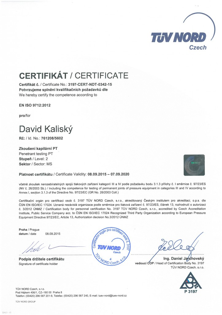 Сертификация ndt уровень 2 сертификация работ по охране труда краснодар
