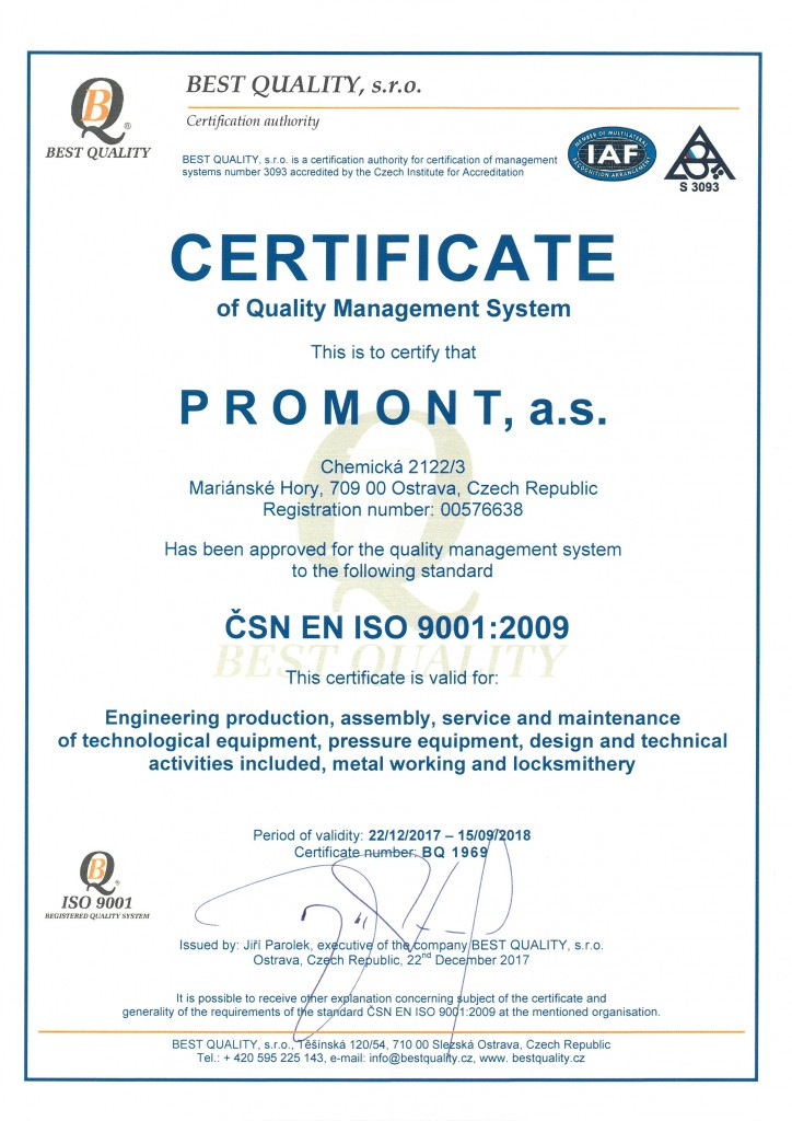 ISO 9001 / ISO 14001 / OHSAS 18001 - promont-as.cz